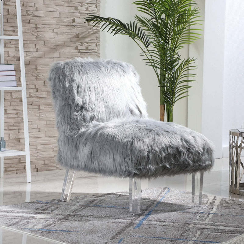 Iconic Home Fabio Accent Side Chair Sleek Stylish Faux Fur Upholstered Armless Design Acrylic Legs-Grey-FAC9500-CHB