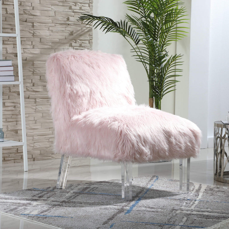 Iconic Home Fabio Accent Side Chair Sleek Stylish Faux Fur Upholstered Armless Design Acrylic Legs-Pink-FAC9497-CHB