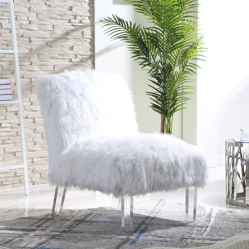 Iconic Home Fabio Accent Side Chair Sleek Stylish Faux Fur Upholstered Armless Design Acrylic Legs-White-FAC9499-CHB
