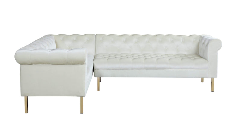 Iconic Home Giovanni Left Facing Velvet Sectional Sofa Gold Tone Legs-