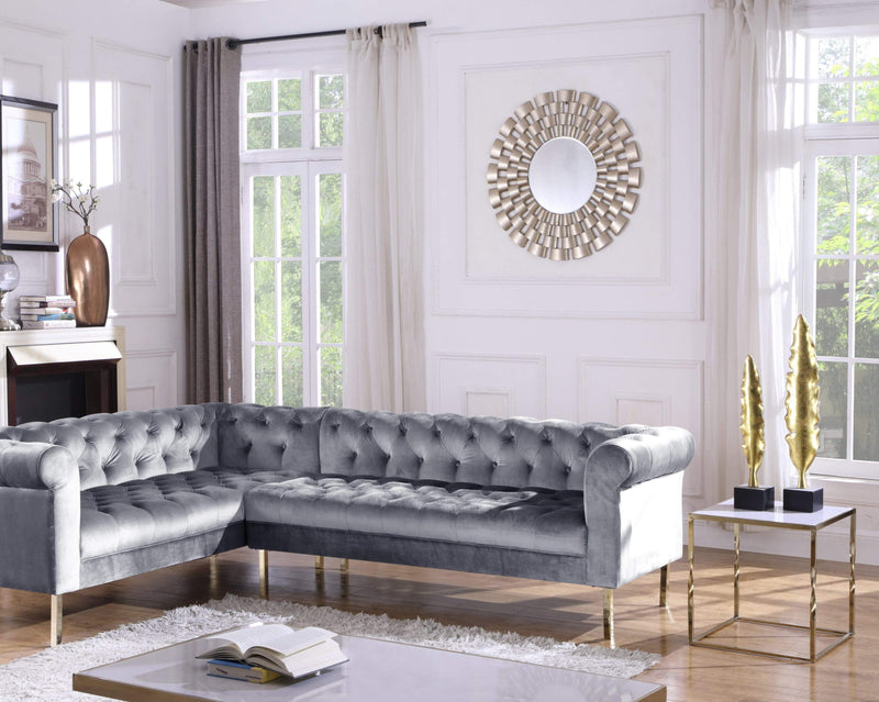Iconic Home Giovanni Left Facing Velvet Sectional Sofa Gold Tone Legs-Grey-FSA9209-CHB