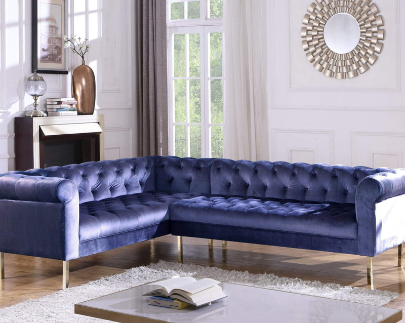 Iconic Home Giovanni Left Facing Velvet Sectional Sofa Gold Tone Legs-Navy-FSA9211-CHB