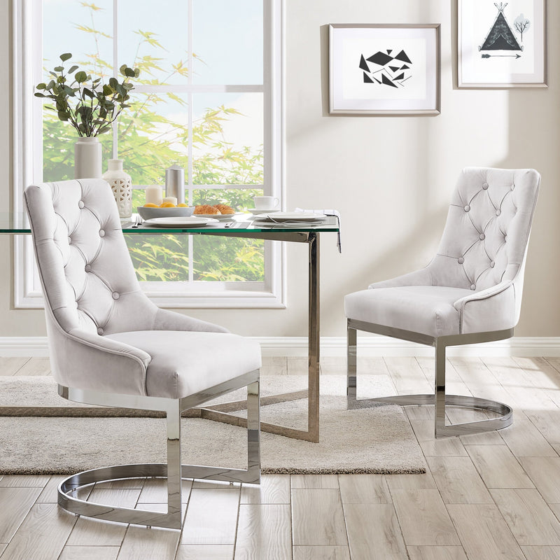 Iconic Home Gwen Dining Chair Button Tufted Velvet Upholstery Half-Moon Solid Metal Base Set of 2 - Chic Home Design