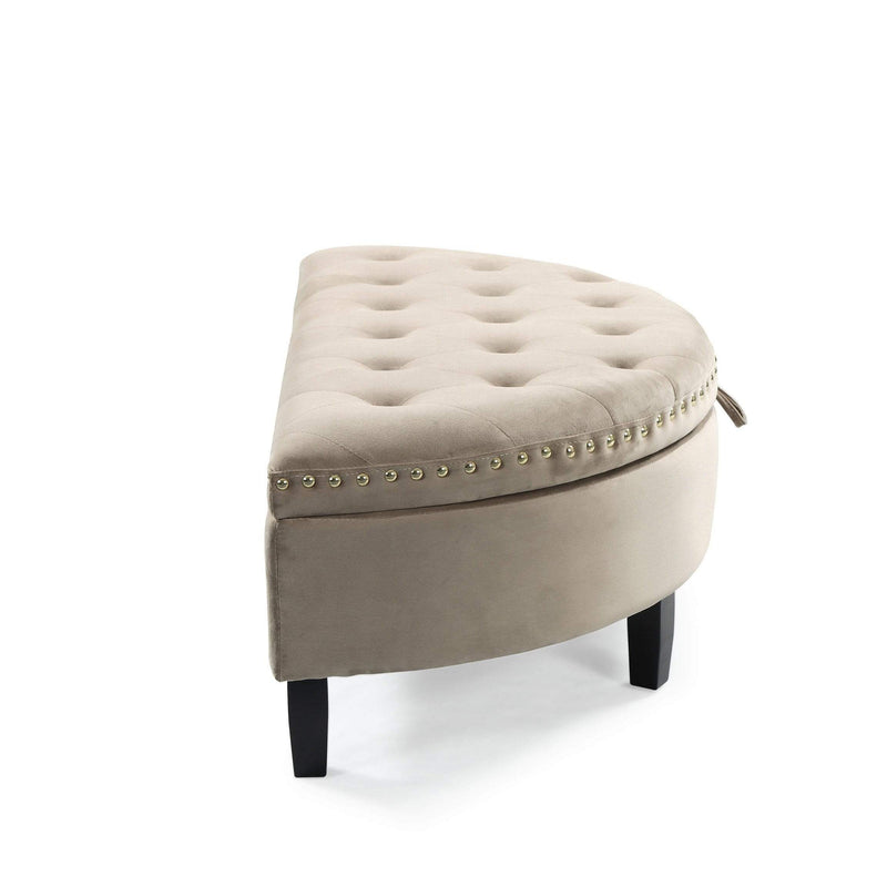 Iconic Home Jacqueline Half Moon Storage Ottoman Velvet Upholstered Espresso Wood Legs Bench-