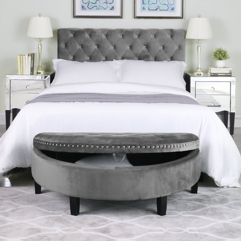 Iconic Home Jacqueline Half Moon Storage Ottoman Velvet Upholstered Espresso Wood Legs Bench-Grey-FON9170-CHB