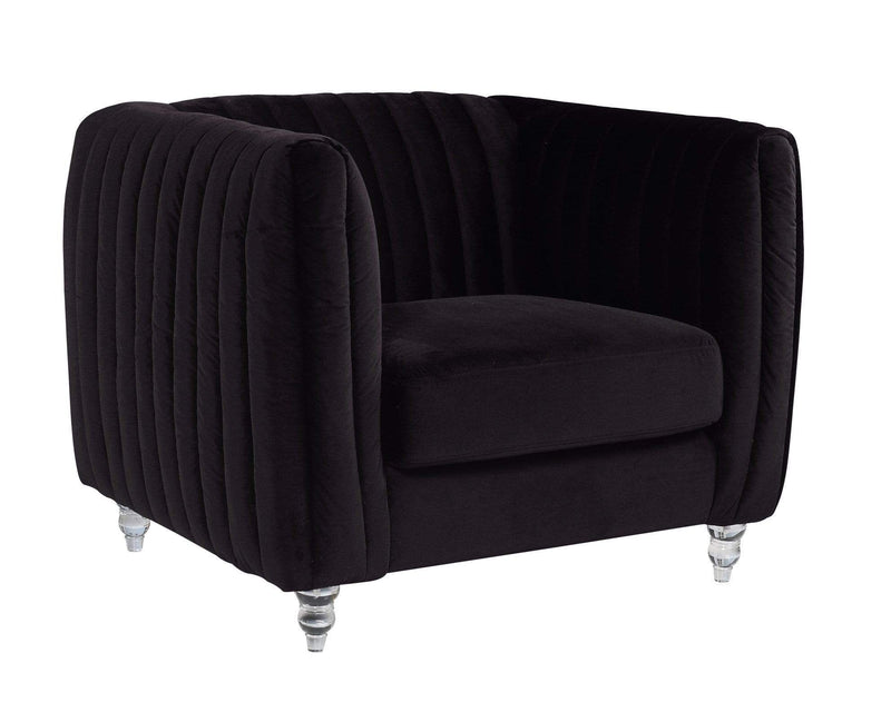 Iconic Home Kent Channel Quilted Velvet Accent Club Chair-