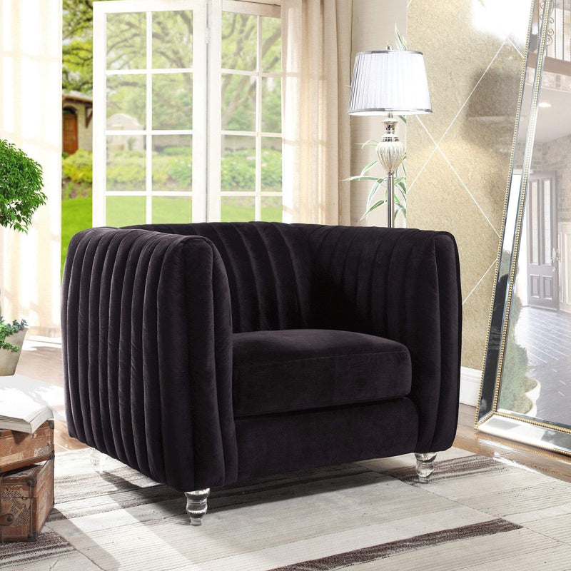 Iconic Home Kent Channel Quilted Velvet Accent Club Chair-Black-FCC2661-CHB