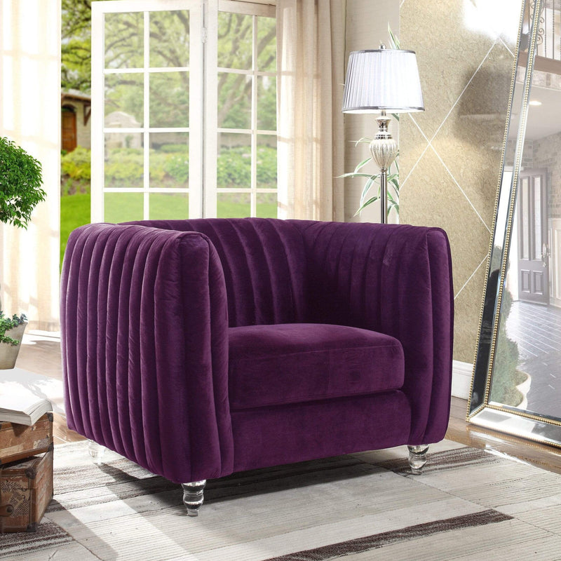Iconic Home Kent Channel Quilted Velvet Accent Club Chair-Purple-FCC2662-CHB