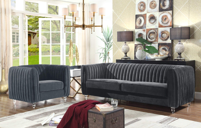 Iconic Home Kent Channel Quilted Velvet Sofa-