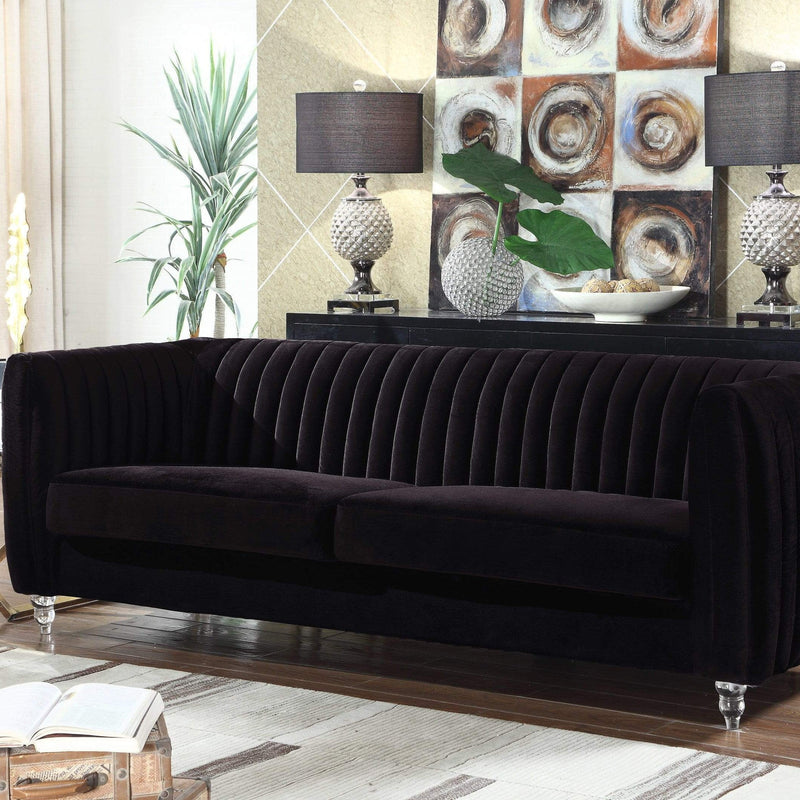 Iconic Home Kent Channel Quilted Velvet Sofa-Black-FSA2664-CHB