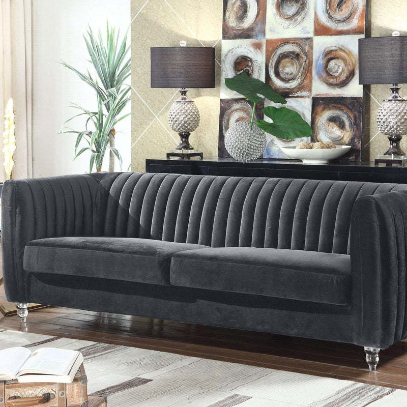 Iconic Home Kent Channel Quilted Velvet Sofa-Grey-FSA2666-CHB