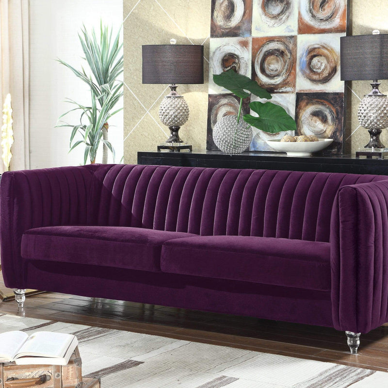 Iconic Home Kent Channel Quilted Velvet Sofa-Purple-FSA2665-CHB