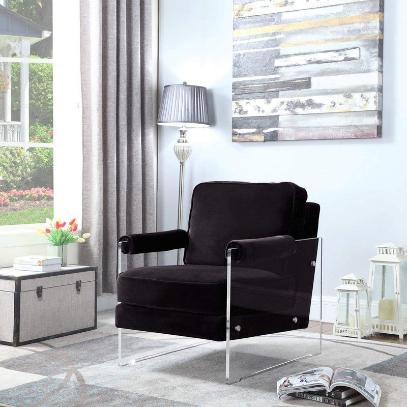 Iconic Home Logan Accent Club Chair Velvet Upholstered Acrylic Frame-Black-FAC2697-CHB