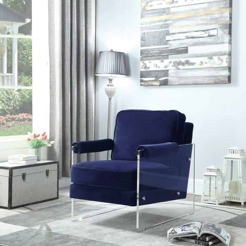 Iconic Home Logan Accent Club Chair Velvet Upholstered Acrylic Frame-Navy-FAC2698-CHB