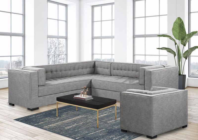 Iconic Home Lorenzo Left Facing Linen Sectional Sofa L Shape Tufted Shelter Arm Wood Legs-