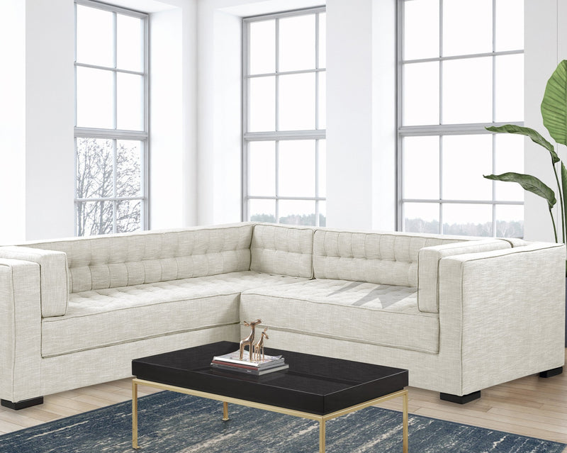 Iconic Home Lorenzo Left Facing Linen Sectional Sofa L Shape Tufted Shelter Arm Wood Legs-Ecru-FSA9285-CHB