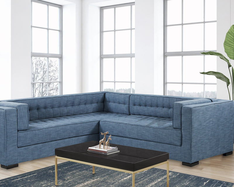 Iconic Home Lorenzo Left Facing Linen Sectional Sofa L Shape Tufted Shelter Arm Wood Legs-Indigo-FSA9283-CHB