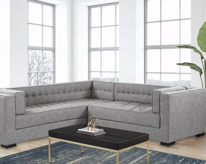 Iconic Home Lorenzo Left Facing Linen Sectional Sofa L Shape Tufted Shelter Arm Wood Legs-Platinum-FSA9289-CHB