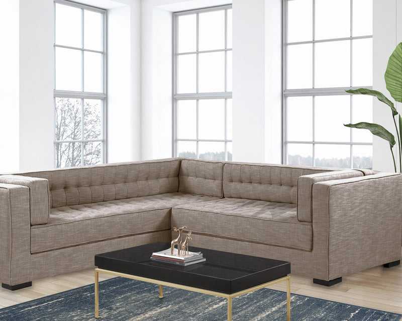 Iconic Home Lorenzo Left Facing Linen Sectional Sofa L Shape Tufted Shelter Arm Wood Legs-Sand-FSA9287-CHB