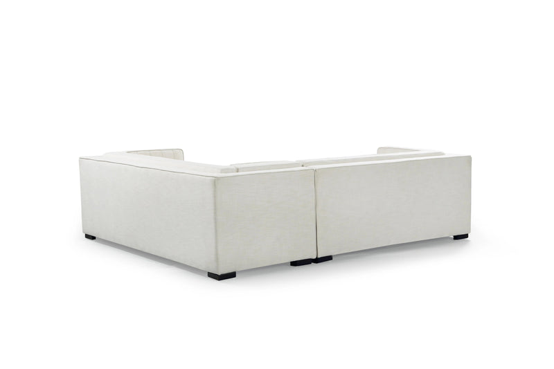 Iconic Home Lorenzo Right Facing Linen Sectional Sofa L Shape Tufted Shelter Arm Wood Legs-