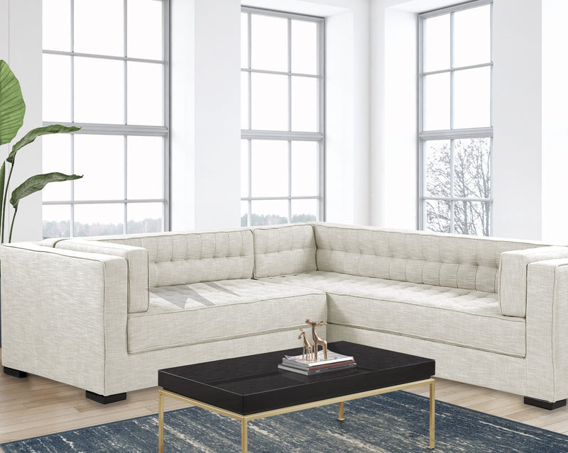 Iconic Home Lorenzo Right Facing Linen Sectional Sofa L Shape Tufted Shelter Arm Wood Legs-Ecru-FSA9286-CHB