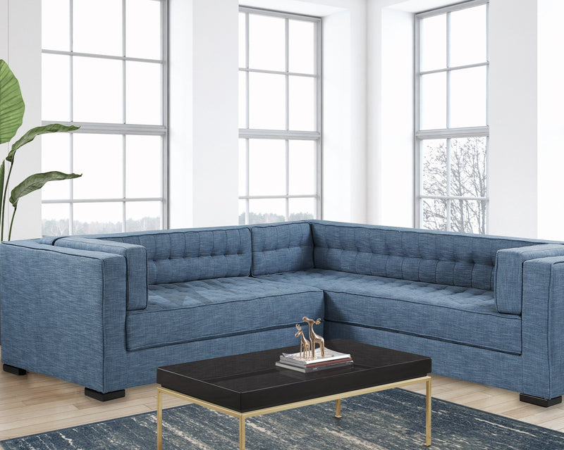 Iconic Home Lorenzo Right Facing Linen Sectional Sofa L Shape Tufted Shelter Arm Wood Legs-Indigo-FSA9284-CHB