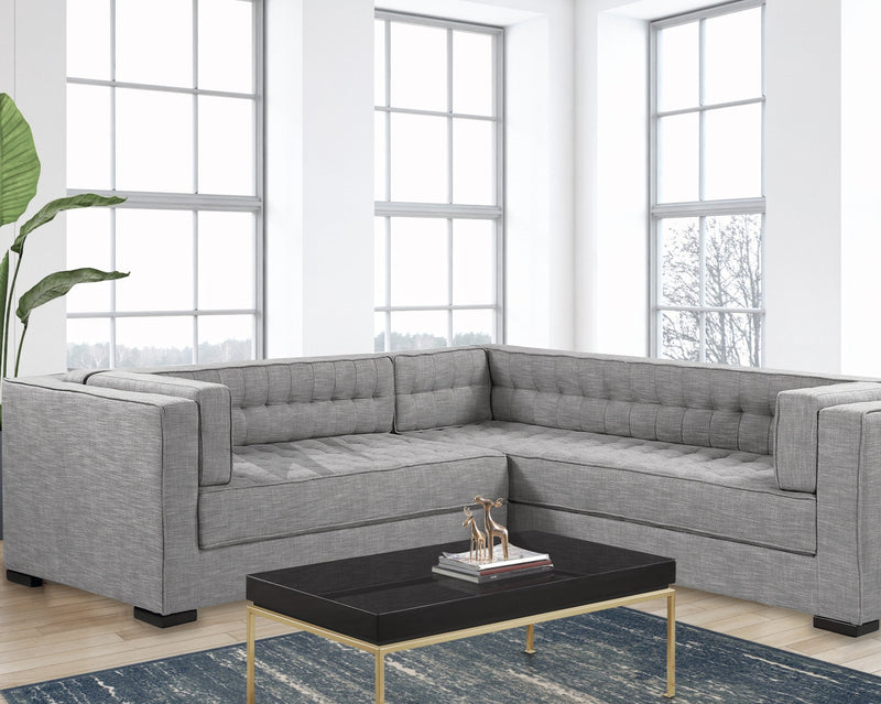 Iconic Home Lorenzo Right Facing Linen Sectional Sofa L Shape Tufted Shelter Arm Wood Legs-Platinum-FSA9290-CHB