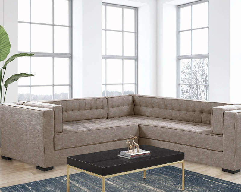 Iconic Home Lorenzo Right Facing Linen Sectional Sofa L Shape Tufted Shelter Arm Wood Legs-Sand-FSA9288-CHB