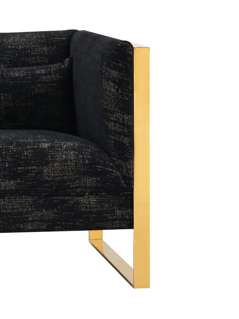 Iconic Home Louvre Sofa Two Tone Textured Fabric Sculptural Gold Tone Solid Metal Frame Black-FSA9122-CHB