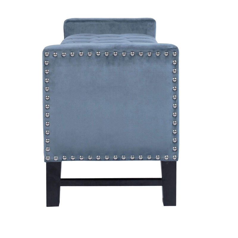Iconic Home Marcus Storage Bench Button Tufted Velvet Upholstered Espresso Legs-