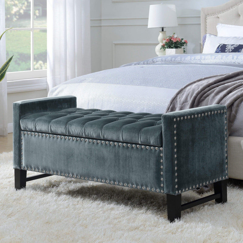 Iconic Home Marcus Storage Bench Button Tufted Velvet Upholstered Espresso Legs-Grey-FSB2686-CHB