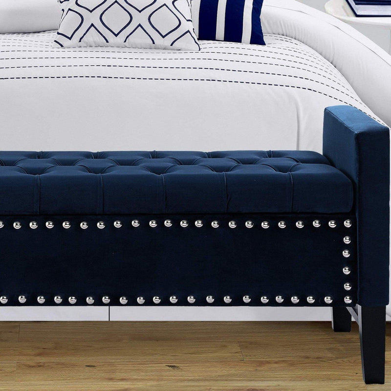 Iconic Home Marcus Storage Bench Button Tufted Velvet Upholstered Espresso Legs-Navy-FSB2683-CHB