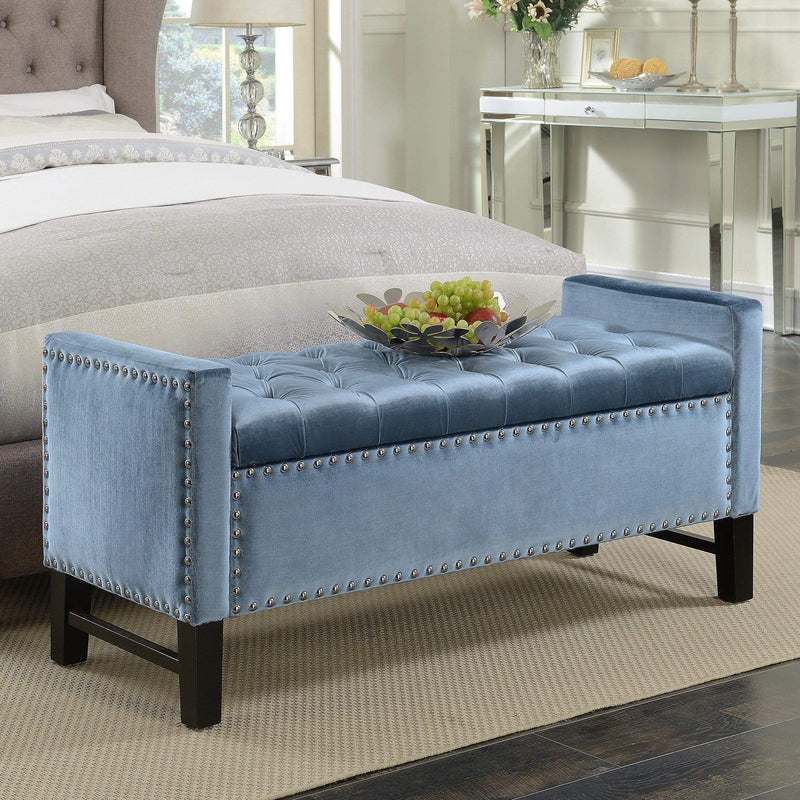Iconic Home Marcus Storage Bench Button Tufted Velvet Upholstered Espresso Legs-Slate Blue-FSB2685-CHB