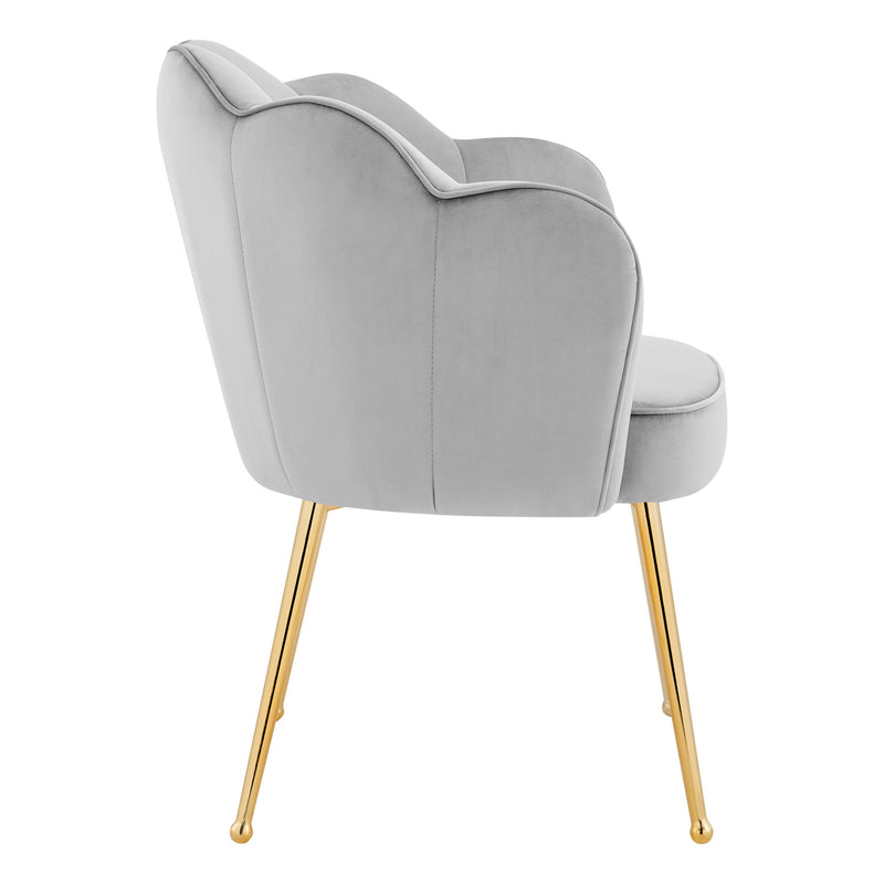 Iconic Home Mia Rose Dining Chair Velvet  Scallop Back Gold Metal Legs Silver FDC9666-CHB