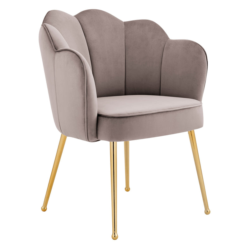 Iconic Home Mia Rose Dining Chair Velvet  Scallop Back Gold Metal Legs Blush FDC9667-CHB
