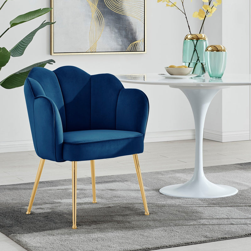 Iconic Home Mia Rose Dining Chair Velvet  Scallop Back Gold Metal Legs Navy FDC9666-CHB