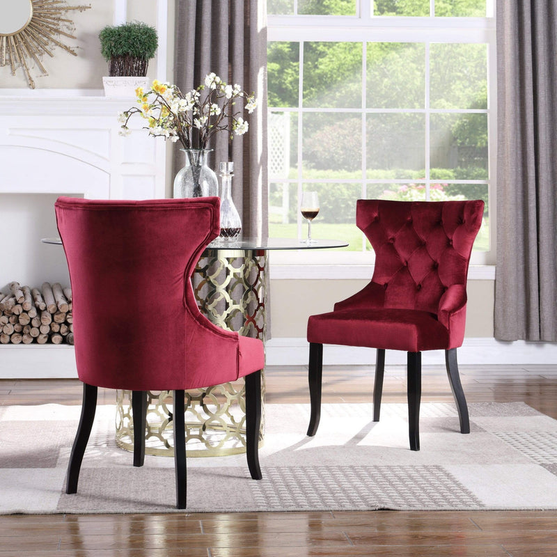 Iconic Home Naomi Dining Chair Button Tufted Velvet Upholstered Espresso Wood Legs (Set of 2) - Chic Home Design