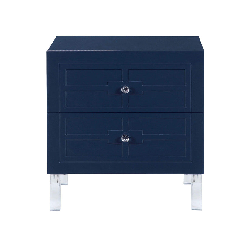 Iconic Home Naples Side Table Nightstand 2 Self Closing Drawers Lacquer Finish Acrylic Legs - Chic Home Design
