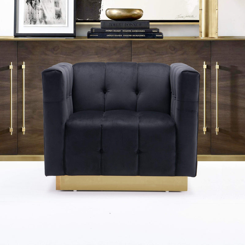 Iconic Home Primavera Club Chair Button Tufted Velvet Upholstered Gold Tone Metal Base-Black-FCC9245-CHB