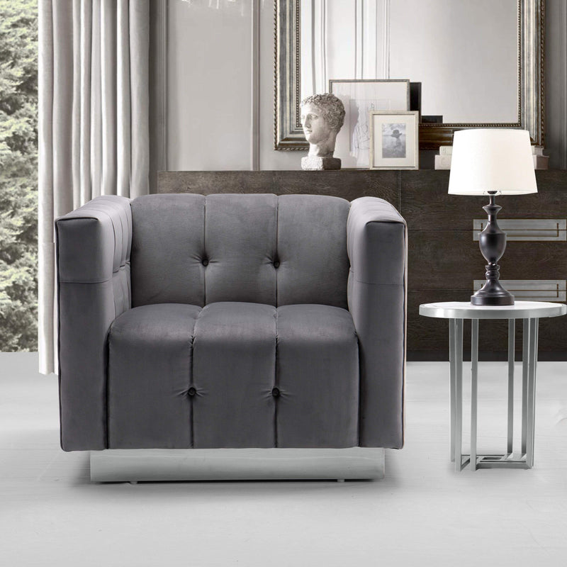 Iconic Home Primavera Club Chair Button Tufted Velvet Upholstered Gold Tone Metal Base-Grey-FCC9247-CHB