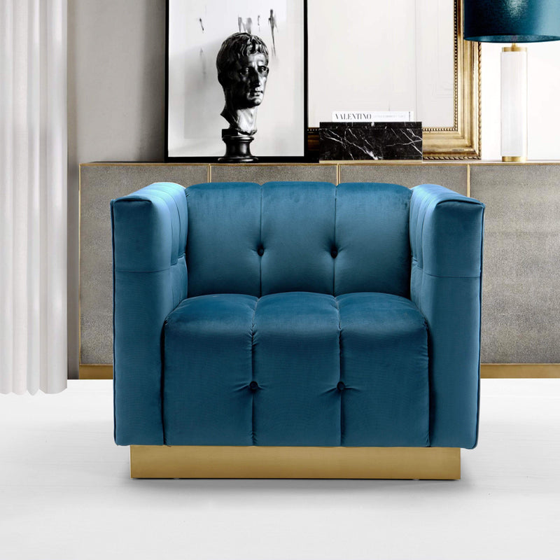 Iconic Home Primavera Club Chair Button Tufted Velvet Upholstered Gold Tone Metal Base-Teal-FCC9246-CHB