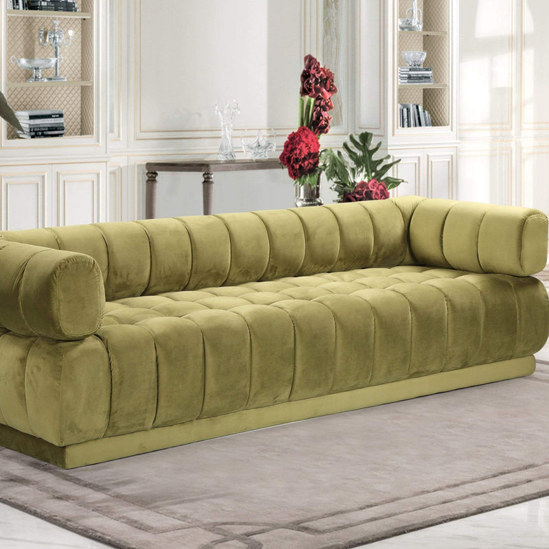 Iconic Home Quebec Sofa Velvet Upholstered Vertical Channel-Quilted Shelter Arm Tufted Design-Green-FSA9235-CHB