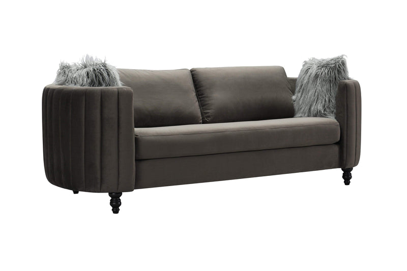 Iconic Home Riviera Sofa Velvet Upholstered Channel Quilted Espresso Finished Wood Legs-