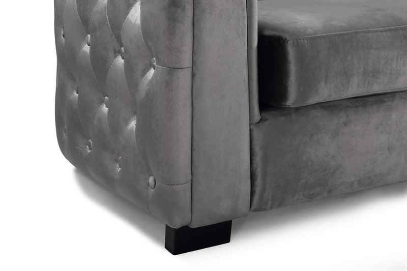 Iconic Home Saratov Sofa Velvet Upholstered Button Tufted Shelter Arm Espresso Wood Legs-