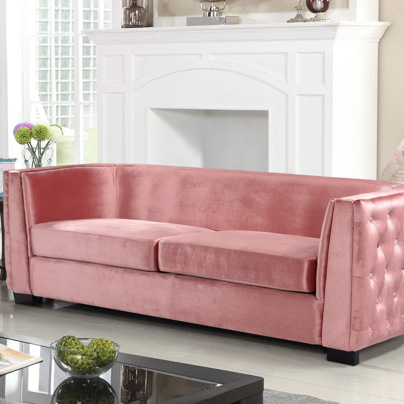 Iconic Home Saratov Sofa Velvet Upholstered Button Tufted Shelter Arm Espresso Wood Legs-Blush-FSA9203-CHB
