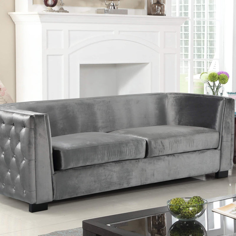 Iconic Home Saratov Sofa Velvet Upholstered Button Tufted Shelter Arm Espresso Wood Legs-Grey-FSA9202-CHB