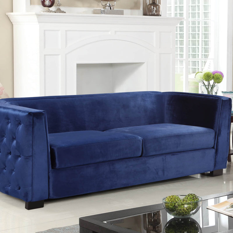 Iconic Home Saratov Sofa Velvet Upholstered Button Tufted Shelter Arm Espresso Wood Legs-Navy-FSA9204-CHB