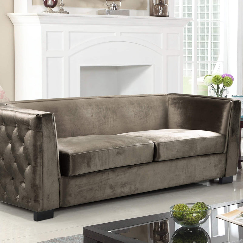 Iconic Home Saratov Sofa Velvet Upholstered Button Tufted Shelter Arm Espresso Wood Legs-Taupe-FSA9201-CHB