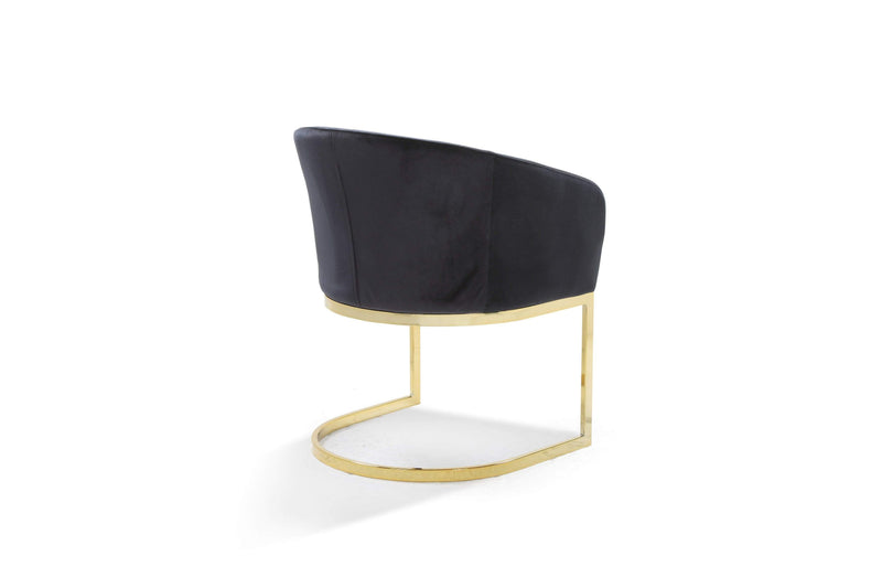 Iconic Home Siena Shell Accent Chair Velvet Upholstered U-Shaped Gold Plated Solid Metal Base-
