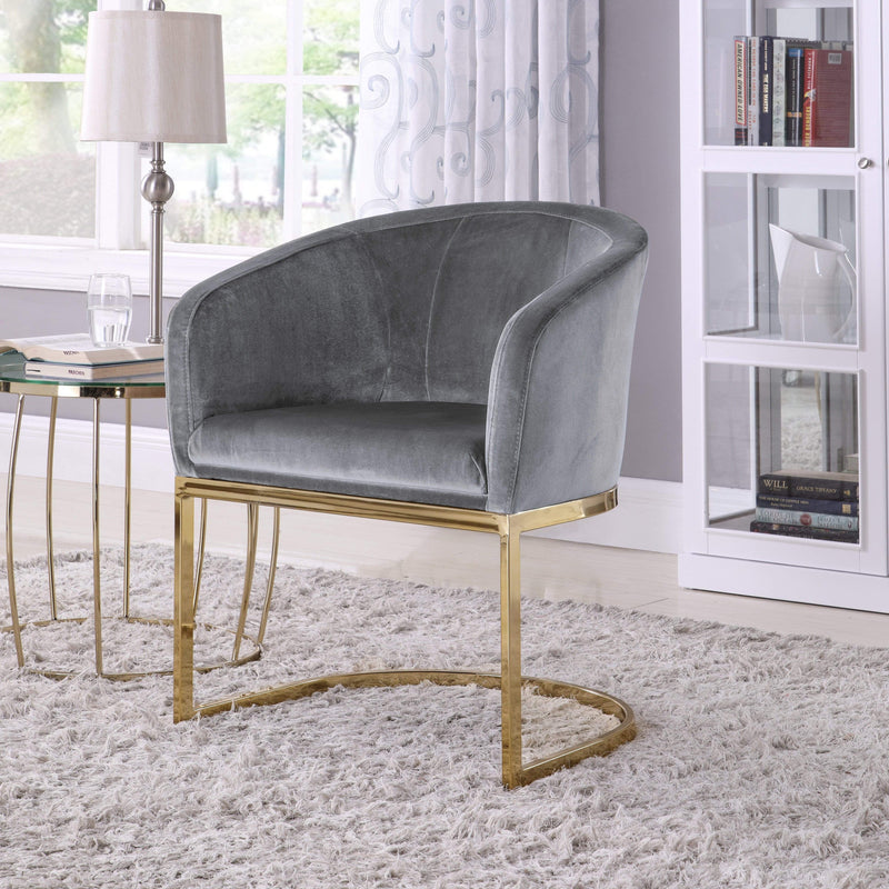 Iconic Home Siena Shell Accent Chair Velvet Upholstered U-Shaped Gold Plated Solid Metal Base-Grey-FAC9100-CHB